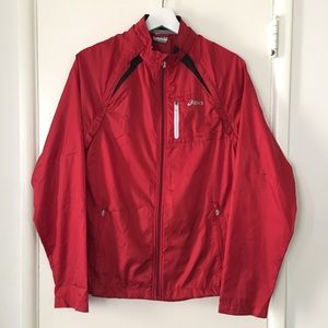 Vintage ASICS Red Windbreaker Jacket Size Small